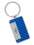 Blue Carbon Fiber Inlay Mustang Key Chain