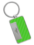 Green Carbon Fiber Inlay Mustang Key Chain