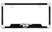 3D Running Horse Chrome License Frame w/Simulated Carbon Fiber
