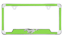 Green Carbon Fiber Vinyl License Plate Frame w/3D Running Pony