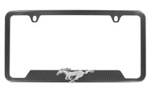 Hydrographic Carbon Fiber License Plate Frame w/3D Running Pony