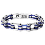 Bracelet - Timing Chain w/Crystals - Silver/Blue - Slim