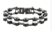 Bracelet - Timing Chain w/Crystals - All Black - Slim