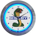 Neon Clock - Shelby Cobra Mustang Blue Neon