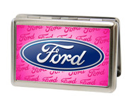 Business Card Holder - LARGE - Ford Oval w Text - Pink
