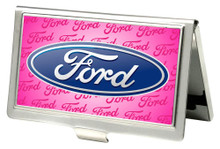 Business Card Holder - SMALL - Ford Oval Logo - Pink