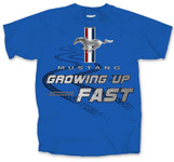 Growing Up Fast - Blue Kids Mustang Shirt