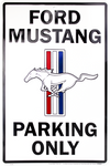 Mustang Parking Only Metal Sign - White (Small)