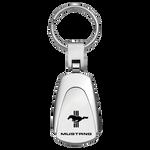 Key Chain - Chrome - Mustang Tri-Bar Logo Teardrop Fob