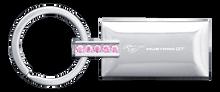 Key Chain - Mustang GT Jeweled Pink Rectangular