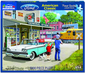 Puzzle - American Classics - Ford Galaxie, Train & Dealership! - 1000 Piece Puzzle