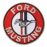 """Patch - Tri-Bar Mustang 3"""" Round in Red"""