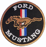 """Patch - Tri-Bar Mustang 3"""" Round in Black"""