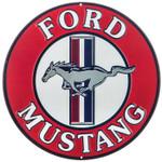 """Tri-Bar Mustang Round Metal Sign 12"""""""