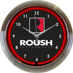 Neon Clock - Roush Logo Mustang Red Neon