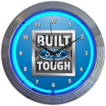 Neon Clock - Built Ford Tough in Blue Neon