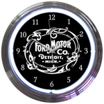 Neon Clock - Ford Motor Company 1903 Logo in White Neon