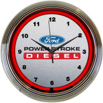 Neon Clock - Ford Power Stroke Diesel in Red Neon