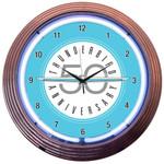Neon Clock - Ford Thunderbird 50 Years Logo in White Neon
