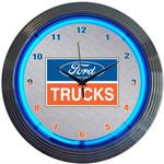 Neon Clock - Ford Trucks Logo in Blue Neon
