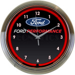 Neon Clock - Ford Performance Logo in Red Neon