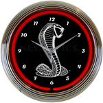 Neon Clock - Ford SVT / Shelby Cobra Logo in Red Neon