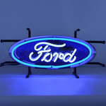 """Neon Sign - Ford Blue Oval Junior With Backing 17"""""""