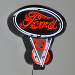 """Neon Sign - Ford V8 Logo In Metal Can 30"""""""