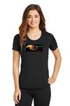 Ladies Flaming Horse Black T-Shirt