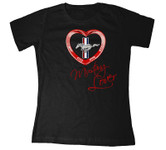 Red Heart Mustang Lover Scoop T-Shirt - Black