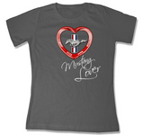 Red Heart Mustang Lover Scoop T-Shirt - Charcoal