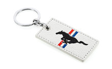 Mustang White Leather 2-Sided Key Chain