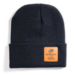 Beanie - Shelby Black Leather Patch