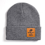 Beanie - Shelby Grey Leather Patch