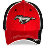 Red on Black Mustang Running Horse Hat