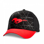 Mustang Running Horse Black & Red Graphic Hat