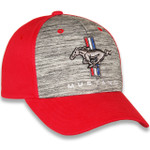 Mustang Tri-Bar Horse Heather Gray & Red Hat
