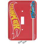 Light Switch Plate - Hot Wheels in Red