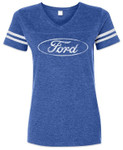 Ford Oval Striped Football Style T-Shirt - Ladies