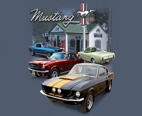 """Awesome! /""""Mustang Classics/"""" T-Shirt Classic Stangs on a 2-Sided White Shirt"""