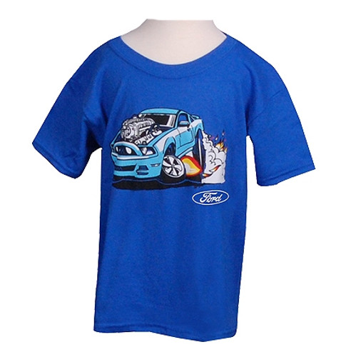 Kids - Late Model Mustang Burnout Blue T-Shirt