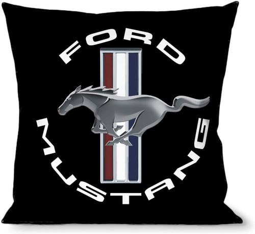 Pillow - Throw - Mustang Tri-Bar Logo with Text