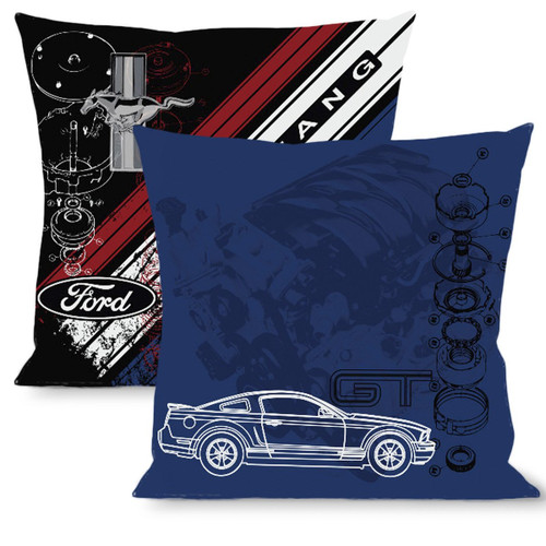 Pillow -Throw - Mustang GT / Blueprint & Diagonal Stripe