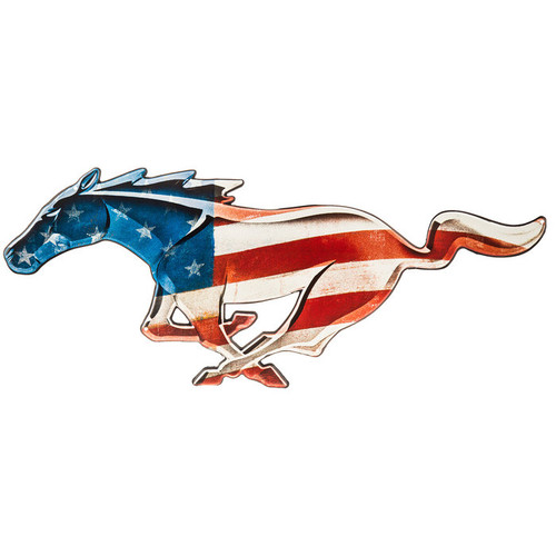 Stars & Stripes Running Horse Metal Sign