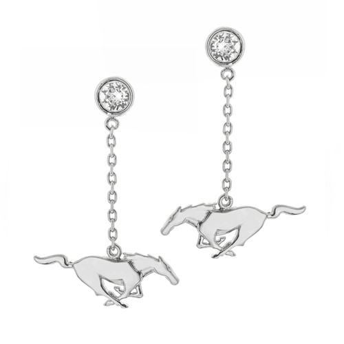 Earrings - Running Horse with Swarovski Crystals - Silver