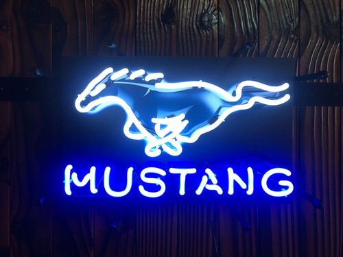 Neon Sign - Mustang Jr With Backing