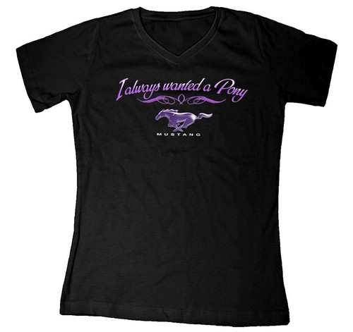 """I Always Wanted A Pony"" (Giddy-Up) Black V-Neck Tee"