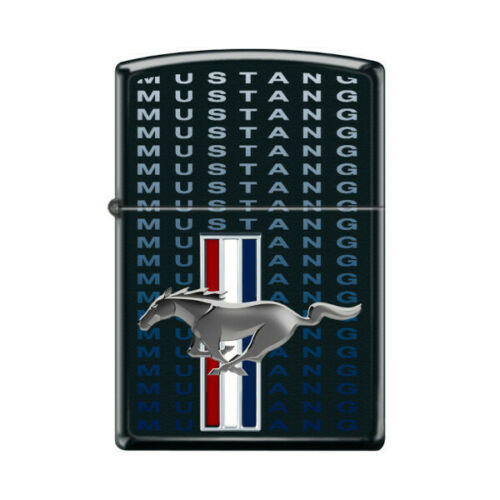 Mustang Tri-Bar Logo - Black Matte ZIPPO Lighter