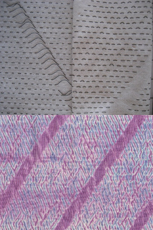 Diagonal, before & after gathering and dyeing.