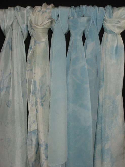 Ice blue silk scarves.